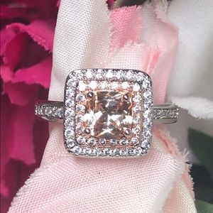 New! 925 sterling silver morganite ring size 7
